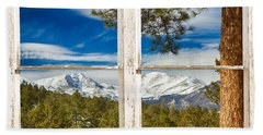 Colorado Rocky Mountain Rustic Window View Beach Towel