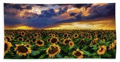 Colorado Sunflowers At Sunset Beach Towel