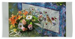 Beach Towel featuring the mixed media Colordance With Quail Quilt by Nancy Lee Moran