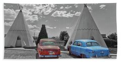 Colored Cars And Tee Pee Motel--holbrook Beach Towel