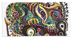Colored Cultural Zoo D Version 2 Beach Towel by Melinda Dare Benfield
