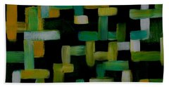 Colored Lines On Black Beach Towel by Patricia Cleasby