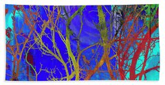 Beach Towel featuring the photograph Colored Tree Branches by Susan Stone