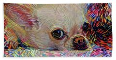 Colorful Abstract Chihuahua Beach Towel