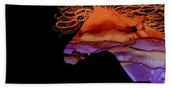 Colorful Abstract Wild Horse Silhouette In Purple And Orange Beach Towel