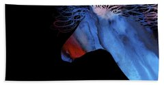 Colorful Abstract Wild Horse Silhouette - Red And Blue Beach Towel