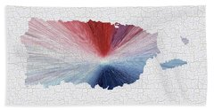 Colorful Art Puerto Rico Map Blue Red And White Beach Towel