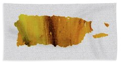Colorful Art Puerto Rico Map Yellow Brown Beach Towel by Saribelle Rodriguez