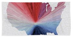 Colorful Art Usa Map Blue, Red And White Beach Towel