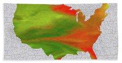Colorful Art Usa Map Beach Towel