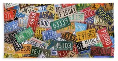 Colorful Assorted Vintage License Plates From All 50 States Beach Towel