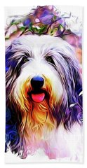 Colorful Bearded Collie Beach Towel