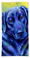 Colorful Black Labrador Retriever Dog Beach Towel