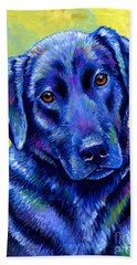 Colorful Black Labrador Retriever Dog Beach Towel