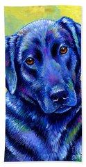 Colorful Black Labrador Retriever Dog Beach Sheet