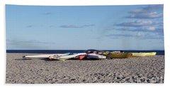 Colorful Boats Ashore Beach Sheet