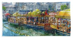 Colorful Boats In Istanbul Turkey Beach Towel