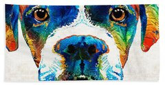 Colorful Boxer Dog Art By Sharon Cummings  Beach Sheet by Sharon Cummings