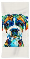 Colorful Boxer Dog Art By Sharon Cummings  Beach Towel