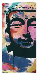 Colorful Buddha 2- Art By Linda Woods Beach Towel