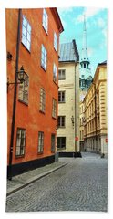 Colorful Buildings In The Old Center Of Stockholm Beach Towel