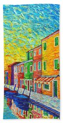Colorful Burano Sunrise - Venice - Italy - Palette Knife Oil Painting By Ana Maria Edulescu Beach Towel