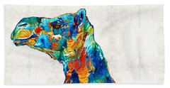 Colorful Camel Art By Sharon Cummings Beach Towel by Sharon Cummings