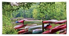 Colorful Canoes At Hungry Mother State Park Beach Sheet