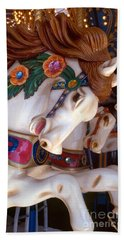 colorful carousel horse photograph - Romping Redhead Beach Towel