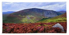 Beach Towel featuring the photograph Colorful Carpet Of Wicklow Hills by Jenny Rainbow