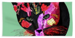 Colorful Cat Abstract Artwork By Claudia Ellis Beach Towel by Claudia Ellis