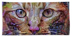 Colorful Cat Art Beach Towel by Peggy Collins