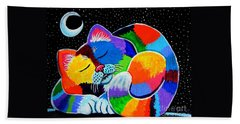 Colorful Cat In The Moonlight Beach Sheet
