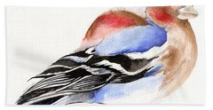 Colorful Chaffinch Beach Towel by Nancy Moniz