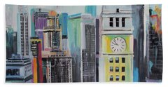 Colorful Cityscape Of Manhattan Beach Towel
