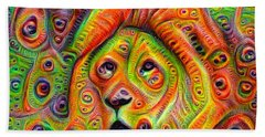 Colorful Crazy Lion Deep Dream Beach Towel