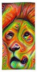 Colorful Crazy Lion Deep Dream Beach Sheet