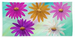 Beach Towel featuring the mixed media Colorful Daisies by Elizabeth Lock