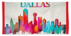 Colorful Dallas Skyline Silhouette Beach Towel by Dan Sproul