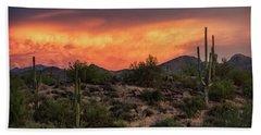 Beach Towel featuring the photograph Colorful Desert Skies At Sunset  by Saija Lehtonen