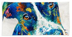 Colorful Dog Art - Happy Go Lucky - By Sharon Cummings Beach Sheet