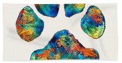Colorful Dog Paw Print By Sharon Cummings Beach Towel