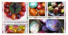 Beach Towel featuring the photograph Colorful Easter Eggs Collage 07 by Ausra Huntington nee Paulauskaite