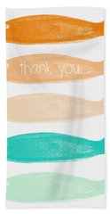 Colorful Fish Thank You Card Beach Towel by Linda Woods