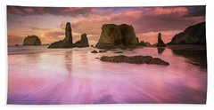 Colorful Flux From Seastacks Beach Towel