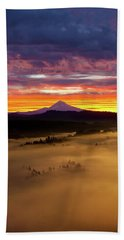 Colorful Foggy Sunrise Over Sandy River Valley Beach Towel