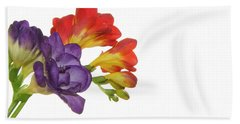 Colorful Freesias Beach Sheet by Elvira Ladocki