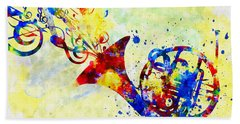 Colorful French Horn Beach Sheet by Olga Hamilton
