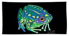 Beach Towel featuring the painting Colorful Froggy 2 by Nick Gustafson