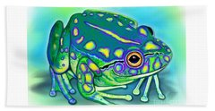 Beach Towel featuring the painting Colorful Froggy by Nick Gustafson
